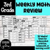 3rd Grade Weekly Math Practice: Homework, Morning Work, or