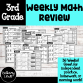 3rd Grade Weekly Math Practice: Homework, Morning Work, or