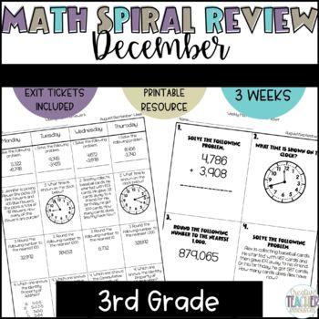 3rd Grade Weekly Math Spiral Review: December