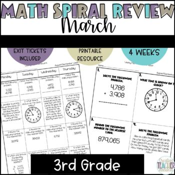 3rd Grade Weekly Math Spiral Review: March