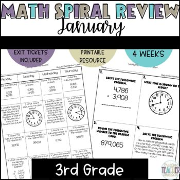 3rd Grade Weekly Math Spiral Review: January