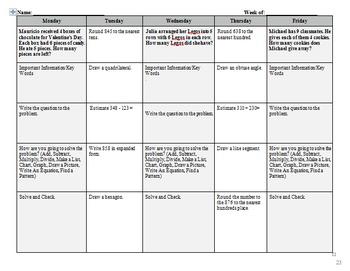 3rd Grade Weekly Math Warm-Up Packet/Math Morning Work/Homework