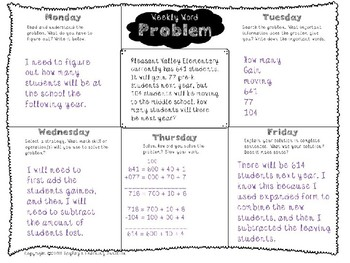 3rd Grade Weekly Word Problem Set 1 on Two-Step Word Problems