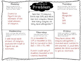 3rd Grade Weekly Word Problem Set on Addition and Subtraction within 1,000