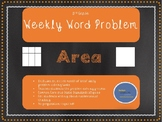 3rd Grade Weekly Word Problem Set on Area
