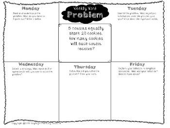 3rd Grade Weekly Word Problem Set on Division