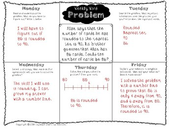 3rd Grade Weekly Word Problem Set on Rounding