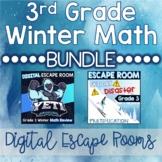 3rd Grade Winter Digital Escape Rooms Math Review DISTANCE