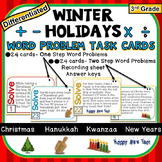 3rd Grade Winter Holidays Task Cards 1-Step & 2-Step Math Word Problems