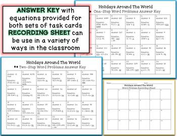 3rd Grade Winter Holidays Task Cards 1-Step & 2-Step Math Word Problems