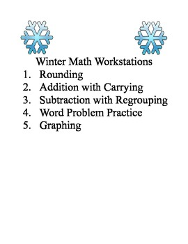 3rd Grade Winter Math Workstations - special needs friendly also