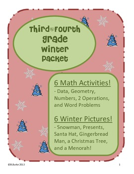 3rd & 4th - Large Winter/Christmas Packet - Math Coloring Pictures -6 Activities