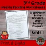3rd Grade Wonders 2020 Weekly Reading Worksheets Unit 1 Print & Digital