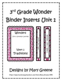 3rd Grade Wonders Binder Inserts Unit 1