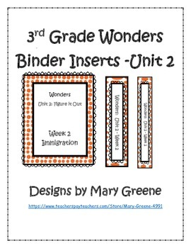 3rd Grade Wonders Binder Inserts Unit 2