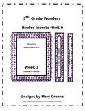 3rd Grade Wonders Binder Inserts Unit 6