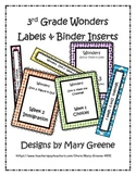 3rd Grade Wonders Binder Inserts and Labels