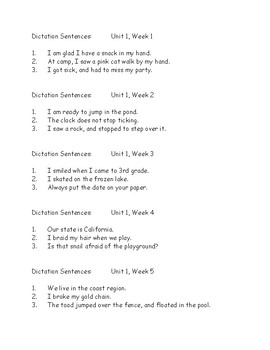 3rd Grade Wonders Dictation Sentences - Six units, 5 weeks each