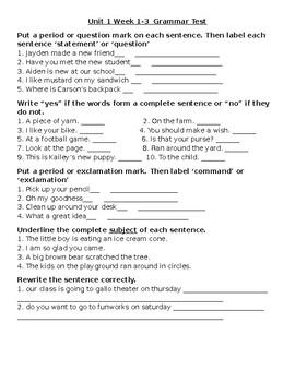 3rd Grade Wonders-GRAMMAR Unit 1 Weeks 1-3  grammar assessment