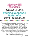 3rd Grade Wonders McGraw Hill Leveled Readers Reading Response Questions BUNDLE!