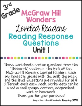 3rd Grade Wonders McGraw Hill Leveled Readers Reading Response Questions UNIT 1