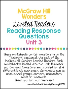 3rd Grade Wonders McGraw Hill Leveled Readers Reading Response Questions UNIT 3