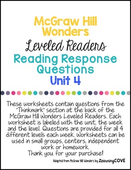 3rd Grade Wonders McGraw Hill Leveled Readers Reading Response Questions UNIT 4