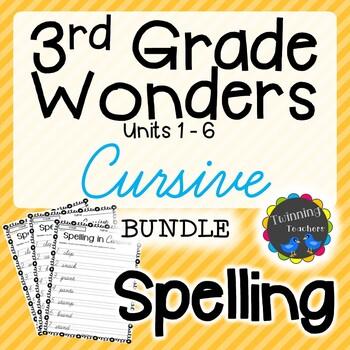 3rd Grade Wonders Spelling - Cursive BUNDLE