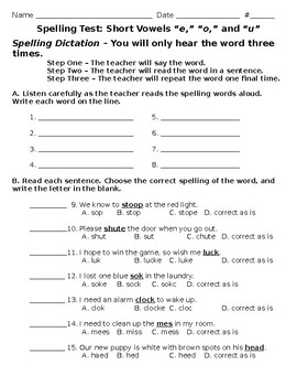 3rd Grade Wonders Spelling Test Unit 1 Week 2