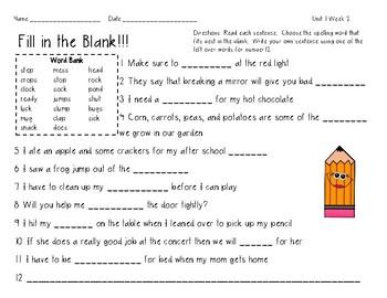 3rd Grade Wonders Spelling Unit 1 Week 2