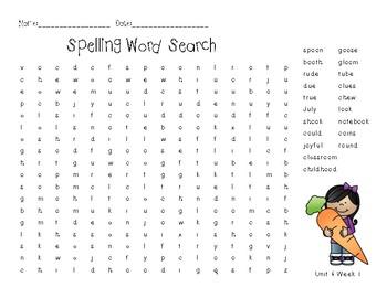 3rd Grade McGraw Hill Wonders Spelling Unit 4 Week 1