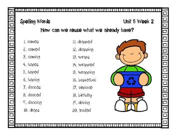 3rd Grade Wonders Spelling Unit 5 Week 2