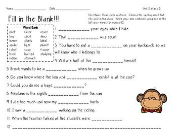 3rd Grade Wonders Spelling Unit 5 Week 5