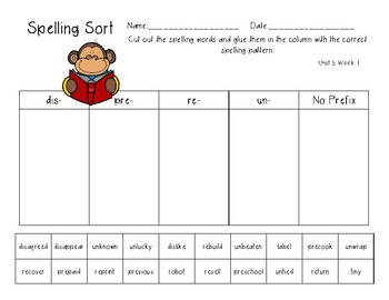 3rd Grade Wonders Spelling Unit 6 Week 1