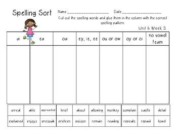 3rd Grade Wonders Spelling Unit 6 Week 3