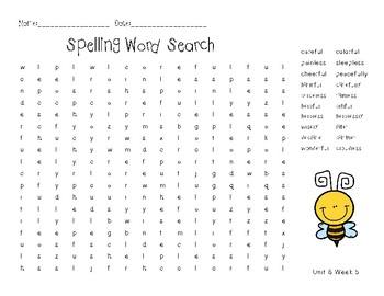 3rd Grade Wonders Spelling Unit 6 Week 5
