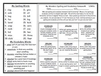 3rd Grade Wonders UNIT 1 Differentiated Vocabulary Spelling Homework