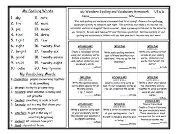 3rd Grade Wonders UNIT 2 Differentiated Vocabulary Spelling Homework