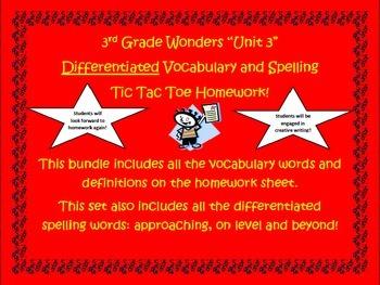 3rd Grade Wonders UNIT 3 Differentiated Vocabulary Spelling Homework