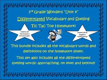 3rd Grade Wonders UNIT 4 Differentiated Vocabulary Spelling Homework