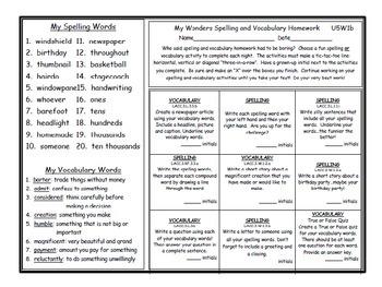 3rd Grade Wonders UNIT 5 Differentiated Vocabulary Spelling Homework