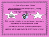 3rd Grade Wonders UNIT 6 Differentiated Vocabulary Spelling Homework