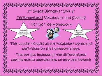 3rd Grade Wonders UNIT 6 Differentiated Vocabulary Spellin