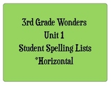 3rd Grade Wonders Unit 1 Student Size Spelling Lists