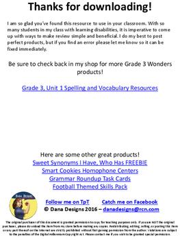 3rd Grade Wonders - Unit 1, Week 1 FREEBIE