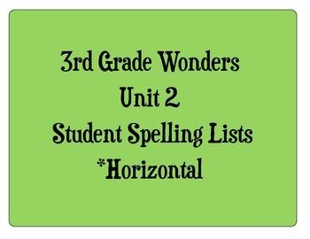 3rd Grade Wonders Unit 2 Student Size Spelling Lists