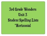 3rd Grade Wonders Unit 3 Student Size Spelling Lists