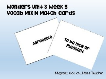 3rd Grade Wonders Unit 3 Week 5 Vocabulary Mix n Match Cards