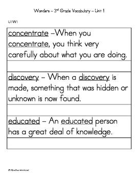 3rd Grade Wonders Vocabulary Cards U1W1