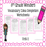 3rd Grade Wonders Vocabulary Idea Completion Worksheets- Unit 2